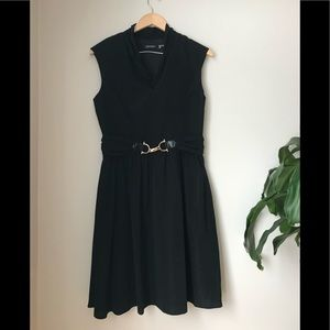 NWOT - Ellen Tracy - Black dress with bow and belt